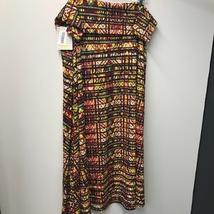LuLaRoe maxi skirt 3XL fun stained glasslike print